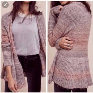 KNITTED KNOTTED Anthropologie Cody Peplum Cardigan